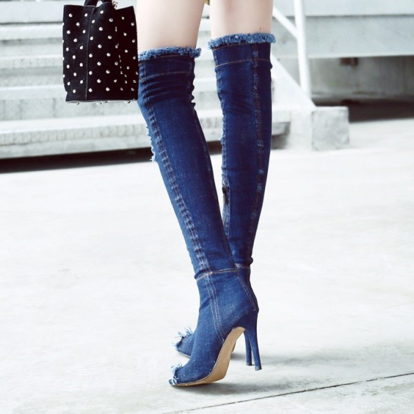 Blue Peep Toe Jeans Stilettos Long Boots Over-The- Knee Denim Boots image 2