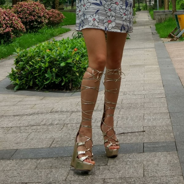 Women's Golden Heels Wedge Sandals Lace-up Strappy Knee High Gladiator Sandals image 3