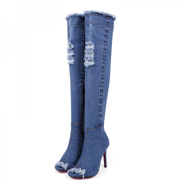 Blue Peep Toe Jeans Stilettos Long Boots Over-The- Knee Denim Boots image 1