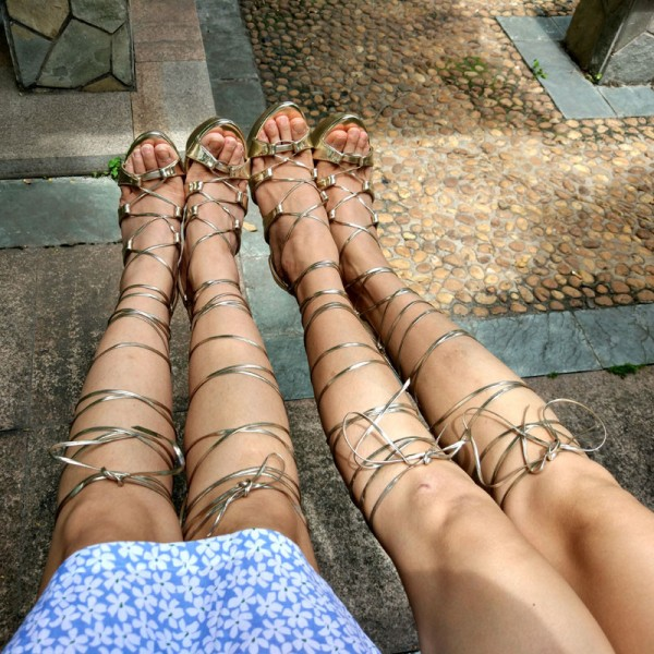Women's Golden Heels Wedge Sandals Lace-up Strappy Knee High Gladiator Sandals image 5