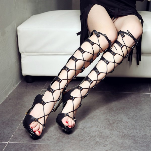 Women's Black Stilettos Stripper Strappy Gladiator Heels Sandals image 1