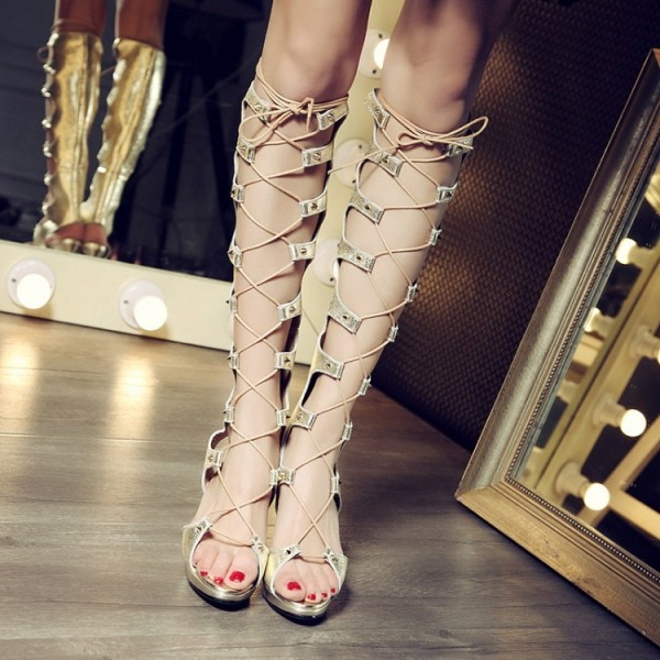 Women's Golden Strappy Heels Gladiator Heels Sandals for Night Club image 1