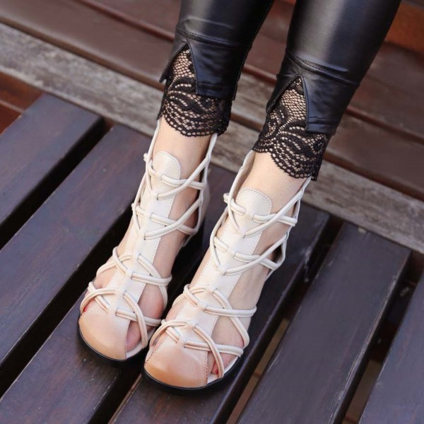 Women's Beige Low Chunky Heel Vintage Strappy Sandals image 2