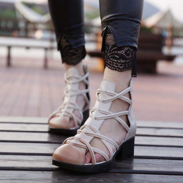 Women's Beige Low Chunky Heel Vintage Strappy Sandals image 1