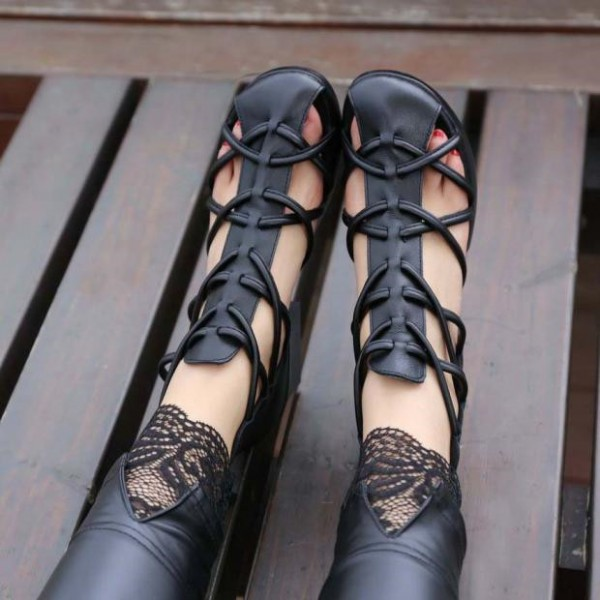 Black Vegan Shoes Closed Toe Low Heel Summer Boots US Size 3-15 image 2