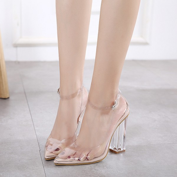 Transparent Pointy Toe Clear Strap Heels Sexy Block Heels Pumps image 1
