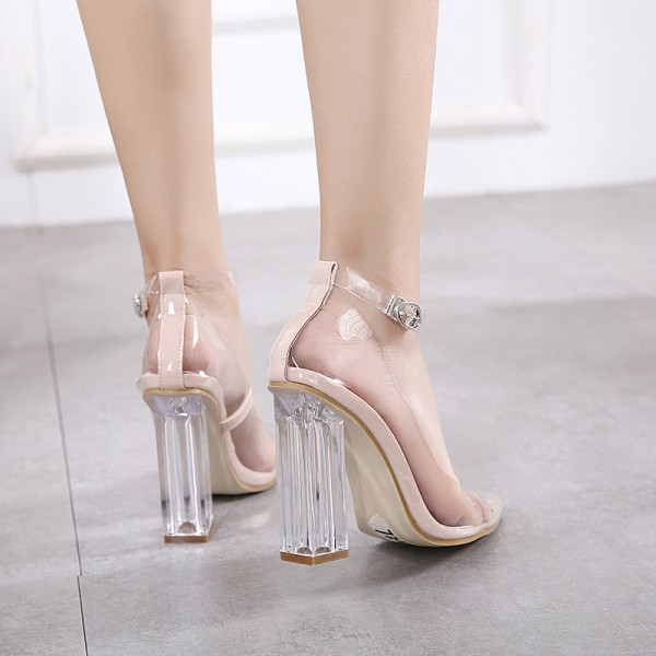 Clear Heels Ankle Strap Block Heel Pointy Toe Pvc Pumps Image 3