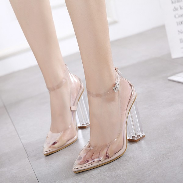 Transparent Pointy Toe Clear Strap Heels Sexy Block Heels Pumps image 4