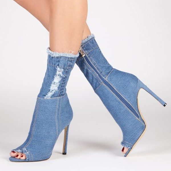 Denim Boots Peep Toe Stiletto Heels Skinny Ankle Booties  image 1