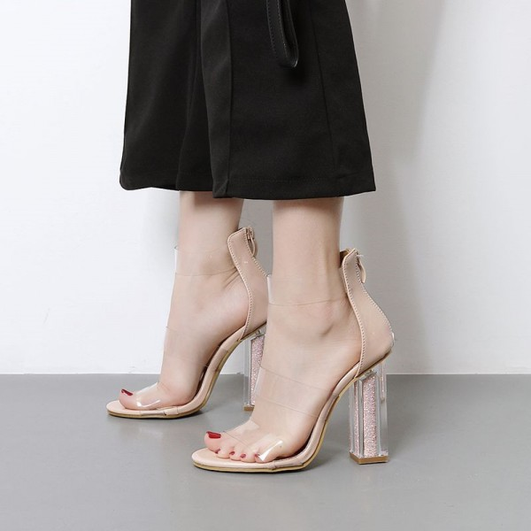 Sexy Nude Clear Sandals Block Heels Shoes image 1
