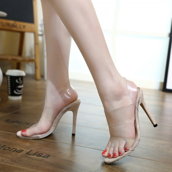 Women's Clear Heels Open Toe Stilettos Heels Slingback Sandals image 3
