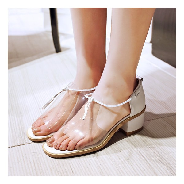 Women's Transparent Chunky Heels School Shoes Open Toe Sandals  image 1