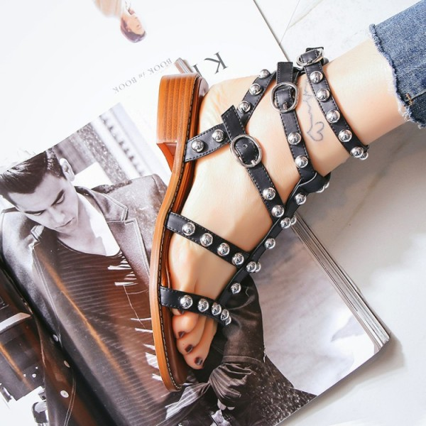 Women's Black Silver Studs T-Strap Flats Gladiator Sandals image 2