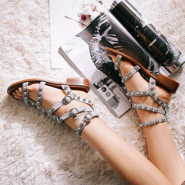 Grey T-Strap Flats Studded Sandals image 1