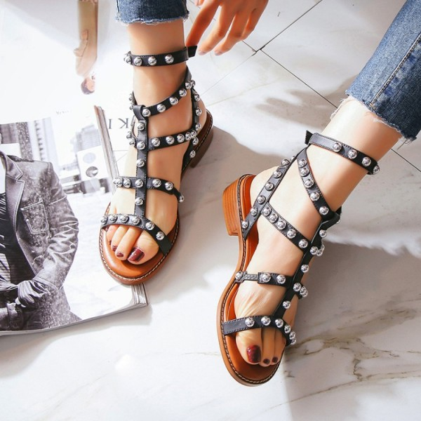 Women's Black Silver Studs T-Strap Flats Gladiator Sandals image 3