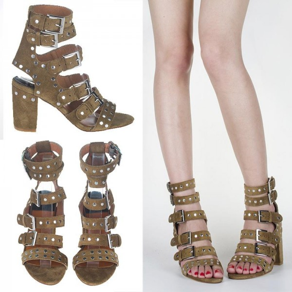 Olive Green Studs Shoes Block Heel Sandals with Buckles image 2