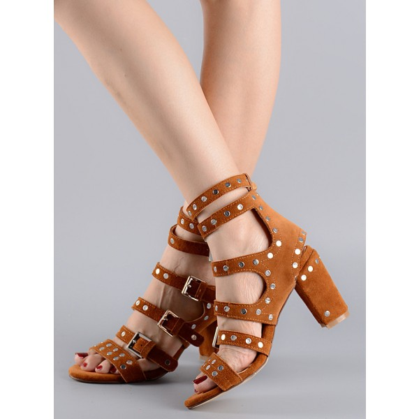 Tan Sandals Open Toe Buckles Studded Block Heels image 1