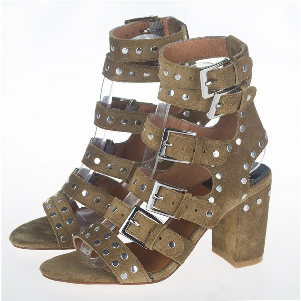 Olive Green Studs Shoes Block Heel Sandals with Buckles image 1