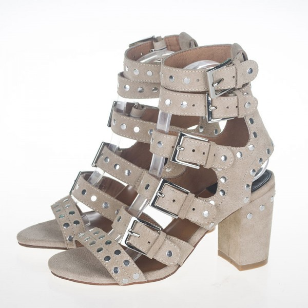Beige Studs Shoes Suede Block Heel Sandals with Buckles image 1
