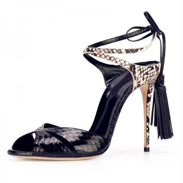 Black Tassel Sandals Python Peep Toe Stiletto Heels for Office Ladies image 1
