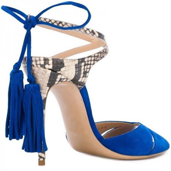 Royal Blue Tassel Sandals Suede and Python Peep Toe Stiletto Heels image 2