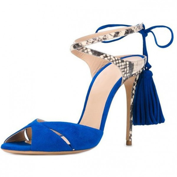 Royal Blue Tassel Sandals Suede and Python Peep Toe Stiletto Heels image 1