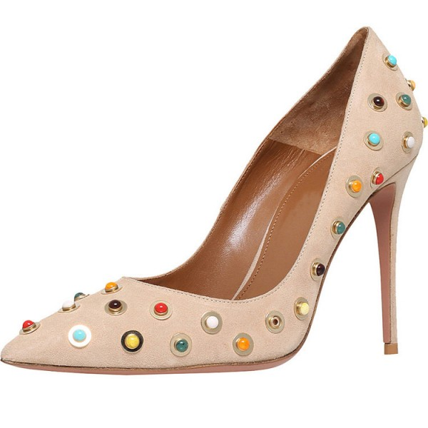 Beige Stiletto Heels Suede Colorful Studded Pumps image 1