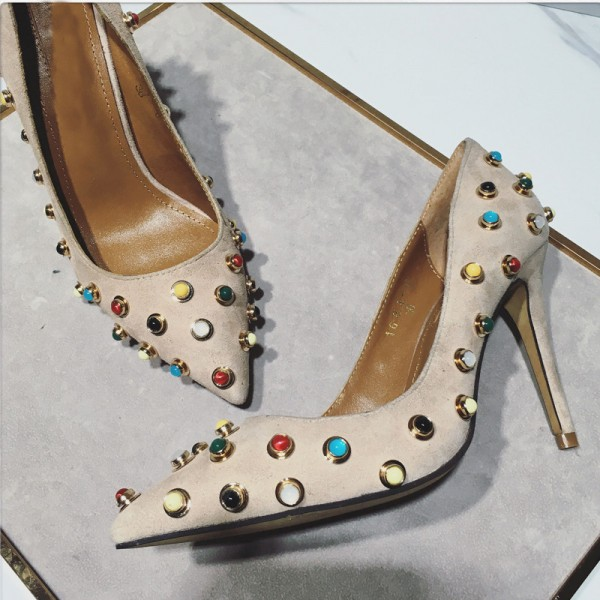 Beige Stiletto Heels Suede Colorful Studded Pumps image 2
