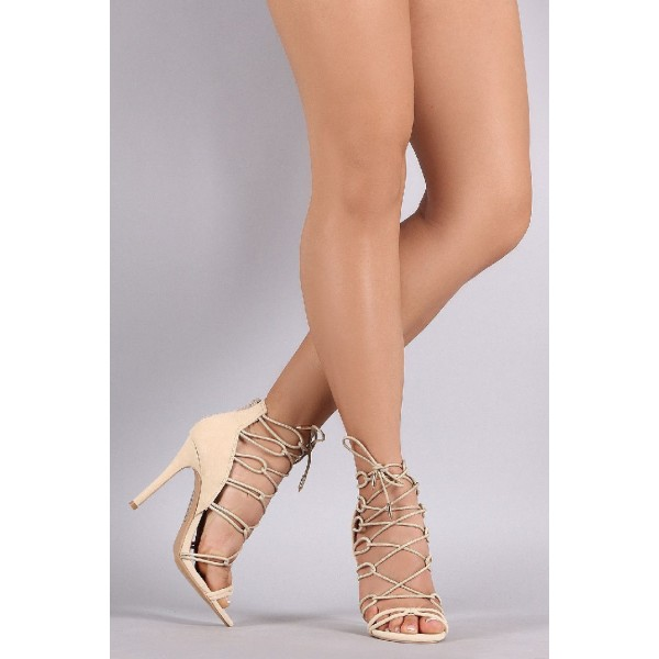 Beige Strappy Sandals Lace up Suede Stiletto Heels image 2