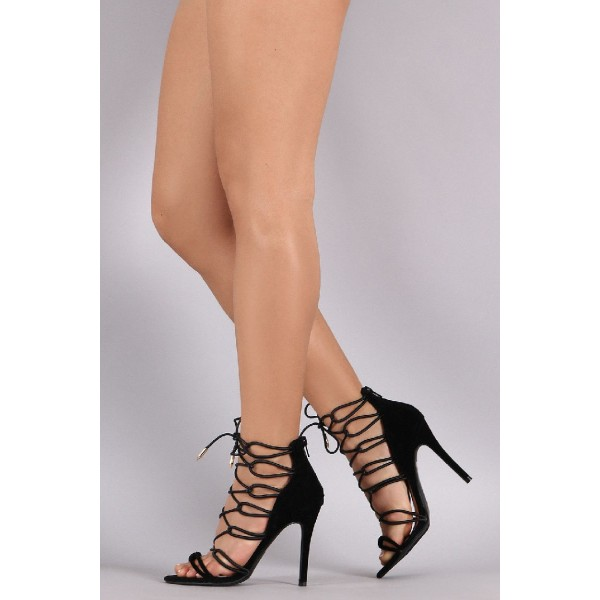 Black Strappy Sandals Sexy Lace up Open Toe Suede Stiletto Heels image 1