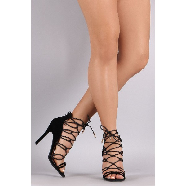 Black Strappy Sandals Sexy Lace up Open Toe Suede Stiletto Heels image 2