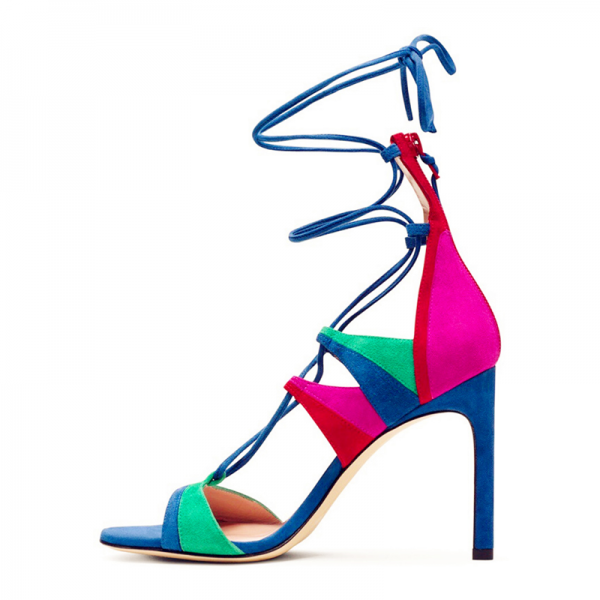 Multi-color Strappy Sandals Suede Lace up Stiletto Heels image 1