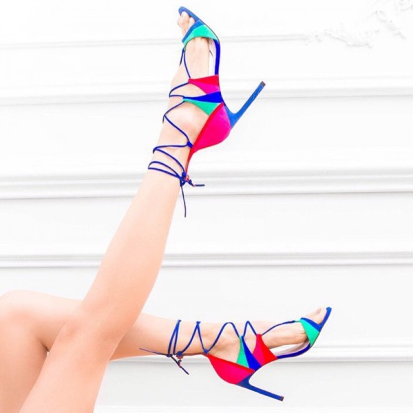 Multi-color Strappy Sandals Suede Lace up Stiletto Heels image 2