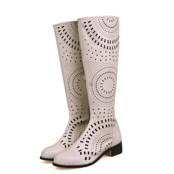 Beige Knee Boots Laser Cut  Round Toe Summer Boots image 1
