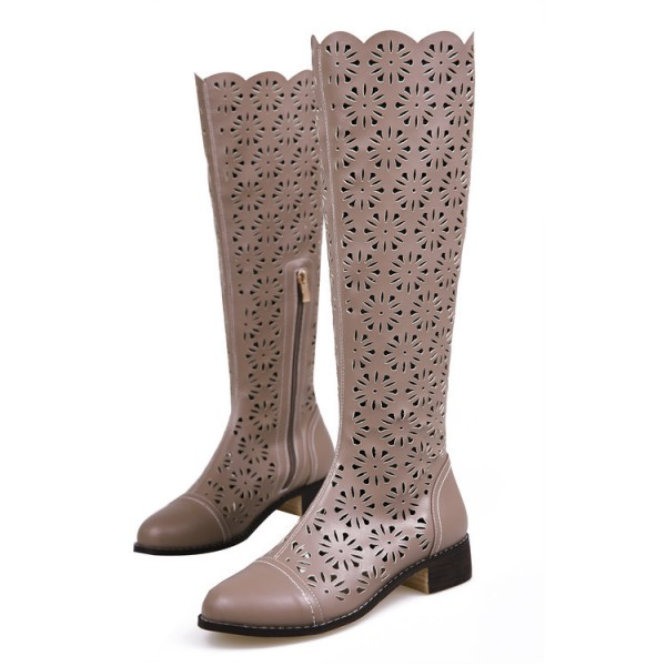 Brown Knee Boots Laser Cut Round Toe Vintage Summer Boots image 2