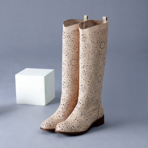 Beige Summer Boots Laser Cut Round Toe Knee Boots for Women image 1