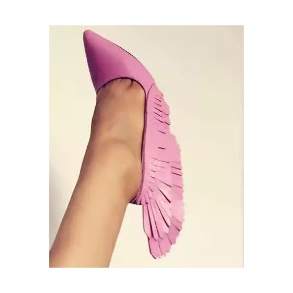Pink Stiletto Heels Pointy Toe Fringe Pumps for Party image 2