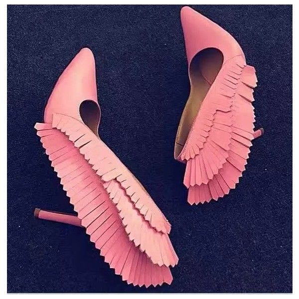 Pink Stiletto Heels Pointy Toe Fringe Pumps for Party image 1