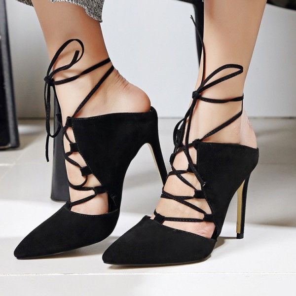 Black Strappy Heels Lace up Pointy Toe Suede Pumps Stiletto Heels image 1