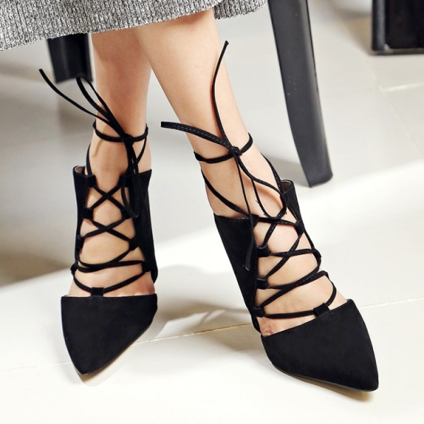 Black Strappy Heels Lace up Pointy Toe Suede Pumps Stiletto Heels image 3