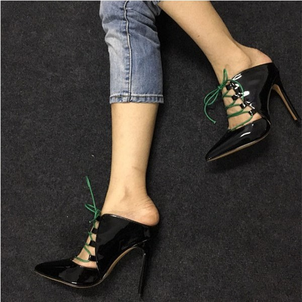 Black Lace up Heels Pointy Toe Patent Leather Pumps Stiletto Heels image 1