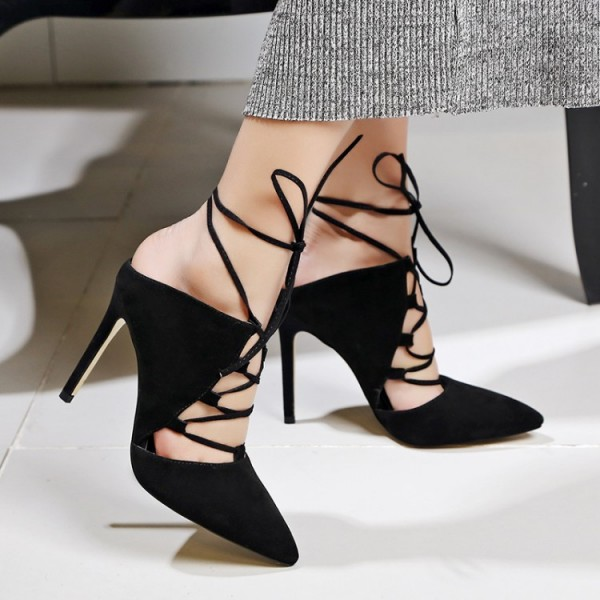 Black Strappy Heels Lace up Pointy Toe Suede Pumps Stiletto Heels image 2