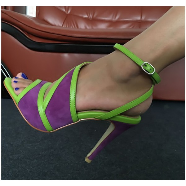 Purple and Green Ankle Strap Sandals Open Toe Stiletto Heels image 1