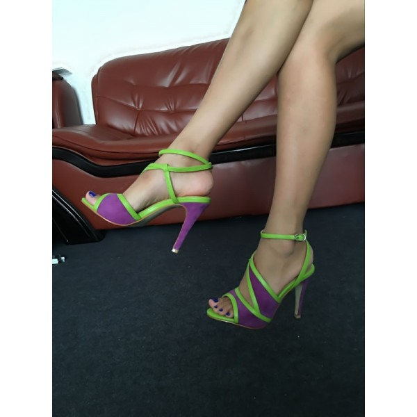 Purple and Green Ankle Strap Sandals Peep Toe Stiletto Heels image 3
