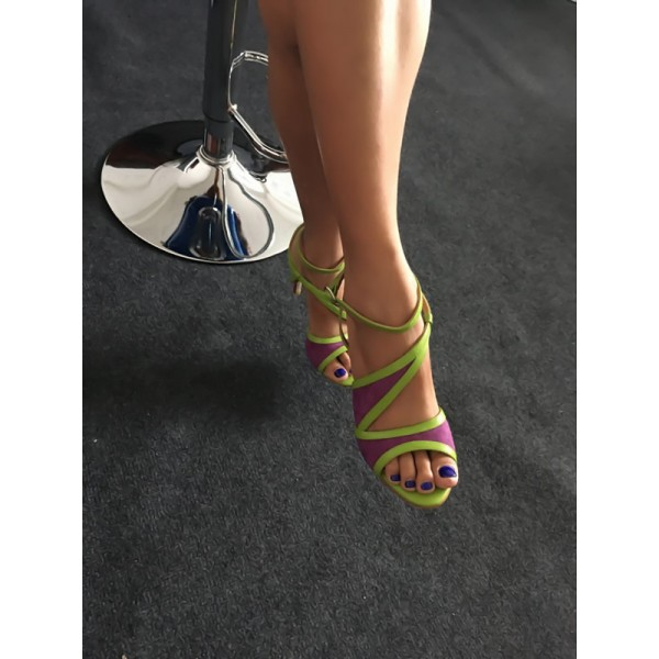 Purple and Green Ankle Strap Sandals Open Toe Stiletto Heels image 2