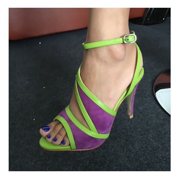 Purple and Green Ankle Strap Sandals Peep Toe Stiletto Heels image 4