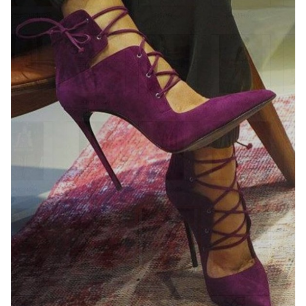 Burgundy Heels Pointy Toe Lace up Suede Stiletto Heel Pumps image 2