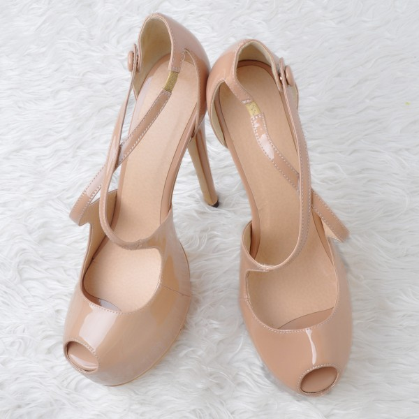 Nude Key Hole Platform Heels Cross-over Strap High Heel Sandals image 2