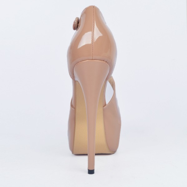Nude Key Hole Platform Heels Cross-over Strap High Heel Sandals image 3