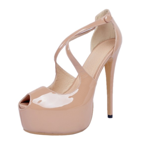 Nude Key Hole Platform Heels Cross-over Strap High Heel Sandals image 1